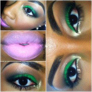 Green eyeshadow from coastal scents, gold glitter liner by NYX, on my lips I'm wearing NYX merengue butter lip gloss