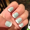 Mint & white tip gel nails