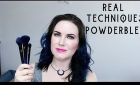 Real Techniques PowderBleu Brushes B04 Shadow, B03 Complexion & B02 Finishing Brush Demo + Review