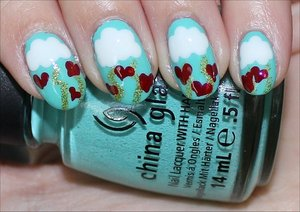 Valentine's Day Nails with Clouds, Lightning & Hearts! See the tutorial & more photos here: http://www.swatchandlearn.com/nail-art-tutorial-valentines-day-nails/