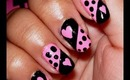 Super Easy Pink and Black Nails!!!
