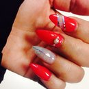 Glitter, hot pink, almond nails