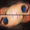 Bold Blue Eyeshadow and Pale Pink Lip