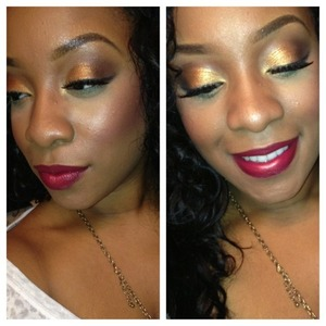 """Gold on the lid -> """"Ella"""" from Magnolia Makeup Crease -> """"Sugar Hill"""" also from Magnolia Makeup Lips -> Filled in lips w/jordana lipliner terracotta, outlined shape for dimension with cabernet also by jordana."""