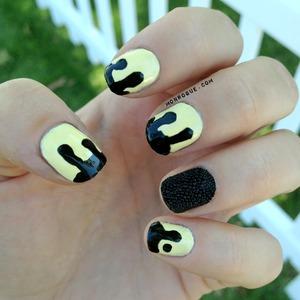 Black & Yellow Drip & Caviar Nails - love! http://monrogue.com/dripping-black-on-yellow-nails-black-caviar/
