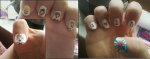 My nails that I just painted featuring little caricatures of those 4 British boys and 1 Irish lad that have taken over our hearts and radios. :D