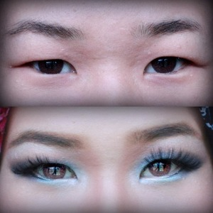 Before and after photo of my puffy monolid eye makeup, plus my uneven eyebrow & eyes :) Comments are welcomed