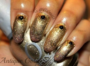 The challenge for the first week of the Busy Girl Nails Fall Nail Art Challenge was Antique Gold, and so this is what I came up with.  The nail polishes I used were: Orly Luxe, Milani 3D, Mineral Fusion Glimmer, Butter London Tart With A Heart, & Julep Oscar.