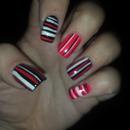 stripes red black pink nails