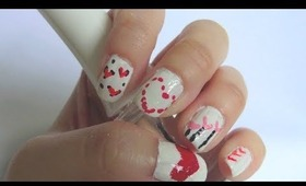 How to do easy hearts nails for valentines day! No special tools needed!