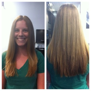 We just did a little trim on the length, but really reworked her layers making her hair lighter and sleekier.