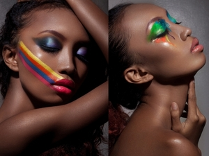 colorful, face paint, avant garde, shimmer, blue eyeshadow, pink lip