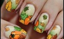Autumn Leaves and Pumpkins nail art