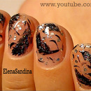 Black Swan Feathers Nail Design