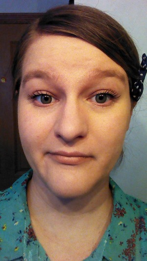 This is the second time I've worn my green contacts, and I love them! My blue eyes make the green look more of a olive green than a vibrant green. It's actually what I wanted because the lenses have more of a feathering look towards the pupil instead of a sharp cutoff. I sometimes don't want to wear a lot of makeup, so these contacts will be my go to contacts.  I also wore my Kate Moss matte lipstick in a nude color, and I have to say it's probably the worst stand alone lipstick I've ever worn. I've worn it a few times before, but now I've made my conclusion. It does not last long, even if you don't drink or eat. Whatever doesn't rub off, it hides in my lip wrinkles. I don't think I'd last longer with a lip liner. It was a pretty nude, but not worth it. :/ Sorry for the bad quality, but blah blah blah lol