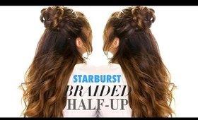 Starburst Braided Bun 👸    Cute Half Updo Hairstyles  for Long Medium Hair Tutorial