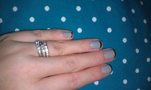 Fancy French manicure with Zoya Dove & Cynthia. Sorry about the cuticles & messy clean up. :)