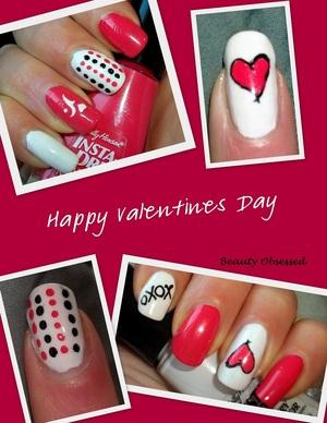 Valentines Day Mani (Week 7 of A Year Challenge) Sally Hansen INSTA-DRI in Whimsicle White & Snappy Sorbet Sally Hansen Nail Art Pens  Nail Art Brush  Dotting Tool Nail Decal