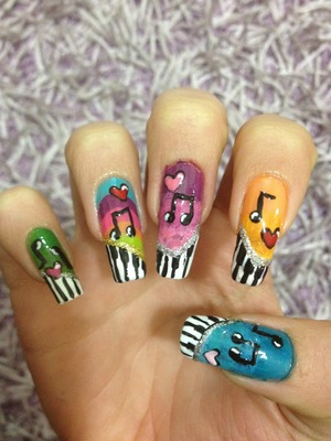 Colorful music nails,I did on my nails;).               Hope u liked it