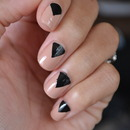 Nude and Black Chevron Nail