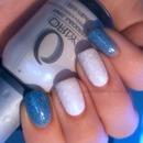 Snowflakes On Matte White, Blue Glitter Franken!