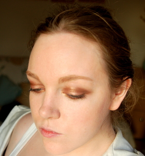 This bronze and gold smokey eye was created using the Urban Decay Naked Palette.