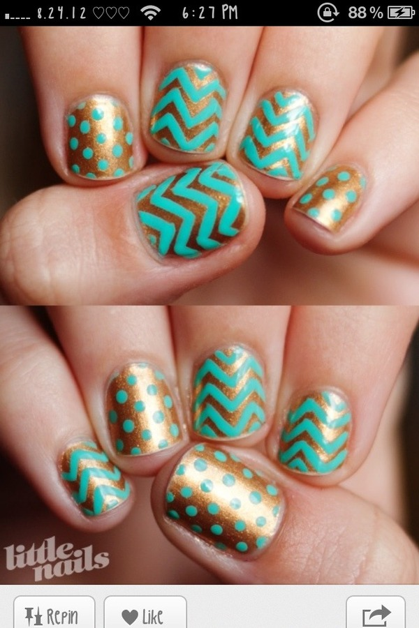 Turquoise & Gold Patterned Nails.