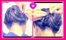 ★ HOW TO FISHTAIL BRAID SOCK BUN UPDO YOUR OWN HAIR ON MEDIUM LONG HAIR. EASY HAIRSTYLES CHIGNON