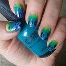 leopard print on gradient nails