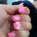 pink bow glitter nails