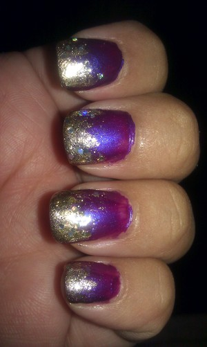 Sally Hansen Xteme Wear Nail Colors used in  #490 Purple Pizazz #485 Golden-1 and and Gold Glitter Polish