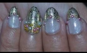 Nail Art ~ Gold Accent and Pearls Beads with Glitter