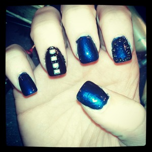 blue and black with stones