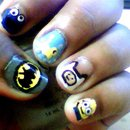 pointer: Cookie Monster middle: Rubber Duck ring: Finn pinkie: Minion thumb: Batman Sign.