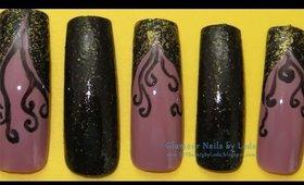 GNbL - Alternating Black Glitter V-French Swirl Nail Art