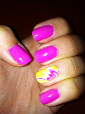 Bright pink & water marbling on ring finger