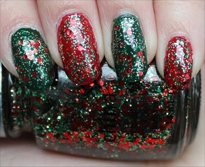 Rescue Beauty Lounge Recycle (green), China Glaze Ruby Deer (red) & China Glaze Party Hearty (glitter). More swatches here: http://www.swatchandlearn.com/what-i-wore-on-my-nails-for-christmas