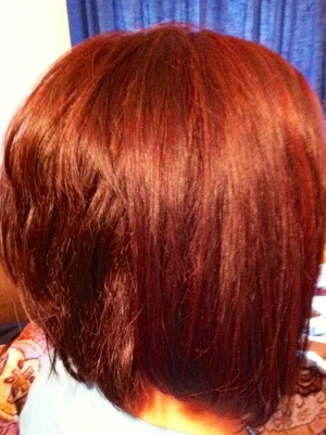 New red I put in my mom's hair with the stacked angled bob