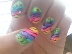 neon rainbow naimal print