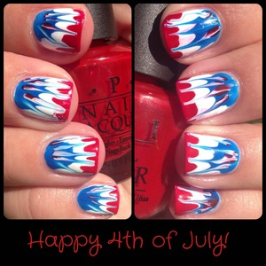 Red, white and blue tie dye nails.