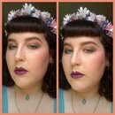 Summery Makeup=Rose Eye with Olive Wing/Purple Lips, Glowy Skin
