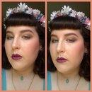 Summery Makeup=Rose Eye with Olive Wing/Purple Lips, Glowy Skin