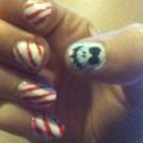 Jack Skellington nails with stripy nails