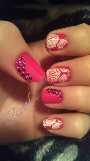 White roses with pink and purple rhinestones!