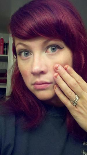 New hair color.  Feria Power Red. WOW!!! I am so thrilled! I also did my nails but the picture didn't capture that awesomeness.