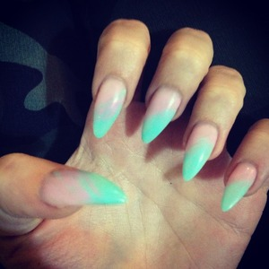 Mint ice & Light pink Stiletto nails