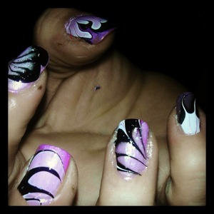 a cute pink, black, and white marble I did