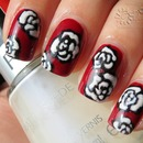 Pin up roses manicure