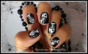 Easy Halloween Nail Art for Short Nails | How to Fish Bone Tutorial 2014 https://www.youtube.com/watch?v=PutyhS9P-6I