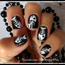 Halloween Nail Art For Short Nails | Fish bones